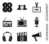 mass media icons set. simple... | Shutterstock .eps vector #1016469847