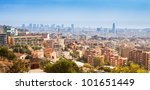 Panoramic view of Barcelona Skyline. Spain. - stock photo