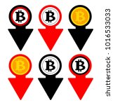 bitcoin rate falling color icon.... | Shutterstock .eps vector #1016533033