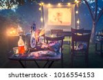small cinema with old analog... | Shutterstock . vector #1016554153