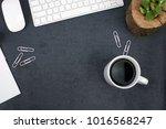 business office desk with black ... | Shutterstock . vector #1016568247
