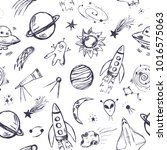 space themed seamless pattern.... | Shutterstock .eps vector #1016575063