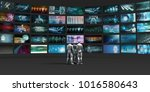 people looking into video wall...   Shutterstock . vector #1016580643