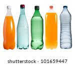 Plastic bottles on white background - stock photo