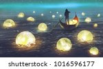 night scenery of a man rowing a ... | Shutterstock . vector #1016596177