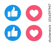 New like and love icons of Empathetic Emoji Reactions, printed on paper.Vector social media Illustration  | Shutterstock vector #1016597947