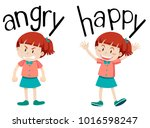 opposite words for angry and... | Shutterstock .eps vector #1016598247