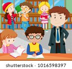 students reading and studying... | Shutterstock .eps vector #1016598397