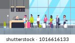 check in airport group of mix... | Shutterstock .eps vector #1016616133