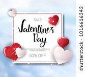 valentine day sale banner... | Shutterstock .eps vector #1016616343