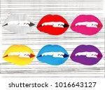 colorful female lips set on...   Shutterstock .eps vector #1016643127