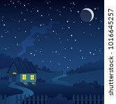 night country landscape with... | Shutterstock .eps vector #1016645257