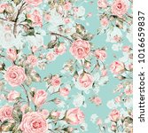 watercolor seamless rose... | Shutterstock . vector #1016659837