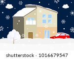 house with snow covered | Shutterstock .eps vector #1016679547
