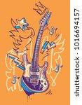 funky guitar graffiti | Shutterstock .eps vector #1016694157