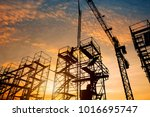 silhouette construction workers ... | Shutterstock . vector #1016695747