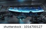 huge blueish landing strip... | Shutterstock . vector #1016700127