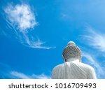 White Big Buddha With Blue Sky...