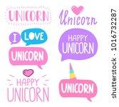 unicorn. vector hand drawn set... | Shutterstock .eps vector #1016732287