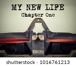 my new life chapter one vintage ... | Shutterstock . vector #1016761213