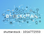 blockchain word surrounded by... | Shutterstock .eps vector #1016772553