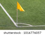 yellow flag blow on the pole at ... | Shutterstock . vector #1016776057