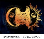 moon crescent turning into... | Shutterstock .eps vector #1016778973