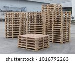 stacks of wooden pallets for... | Shutterstock . vector #1016792263
