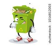 cartoon joyful trash can mascot ... | Shutterstock .eps vector #1016812003