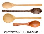 top view wooden spoon isolated... | Shutterstock . vector #1016858353