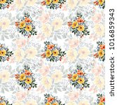 watercolor floral seamless... | Shutterstock . vector #1016859343