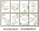 Set of card with flower rose, leaves. Wedding ornament concept. Floral poster, invite. Vector decorative greeting card or invitation design background | Shutterstock vector #1016880823