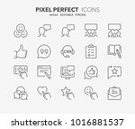 thin line icons set of... | Shutterstock .eps vector #1016881537