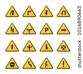 yellow road signs  symbols ... | Shutterstock .eps vector #1016890663