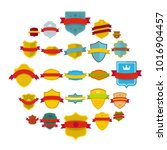 shield badge icons set. flat... | Shutterstock .eps vector #1016904457