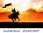 silhouette of a medieval knight ... | Shutterstock . vector #1016913007