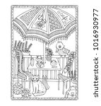 illustration depicting terrace... | Shutterstock .eps vector #1016930977