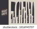 set of knives. kitchen...   Shutterstock .eps vector #1016945707