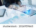 social network and global... | Shutterstock . vector #1016959663
