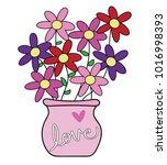happy valentines day flowers | Shutterstock . vector #1016998393