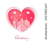 valentines card. paper cut... | Shutterstock .eps vector #1017002167