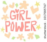 girl power paper cut style... | Shutterstock .eps vector #1017005767
