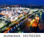 aerial view of twilight of oil... | Shutterstock . vector #1017022303