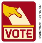 vote label  hand putting a... | Shutterstock .eps vector #101702437