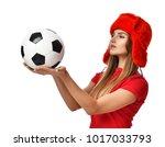 fan sport woman player in red... | Shutterstock . vector #1017033793