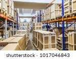 cardboard boxes in warehouse.... | Shutterstock . vector #1017046843