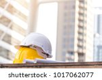 helmet hat safety on the city... | Shutterstock . vector #1017062077