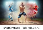 collage of team sport players... | Shutterstock . vector #1017067273