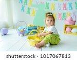 beautiful little girl holding...   Shutterstock . vector #1017067813