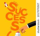 flat design concept hand push... | Shutterstock .eps vector #1017070507